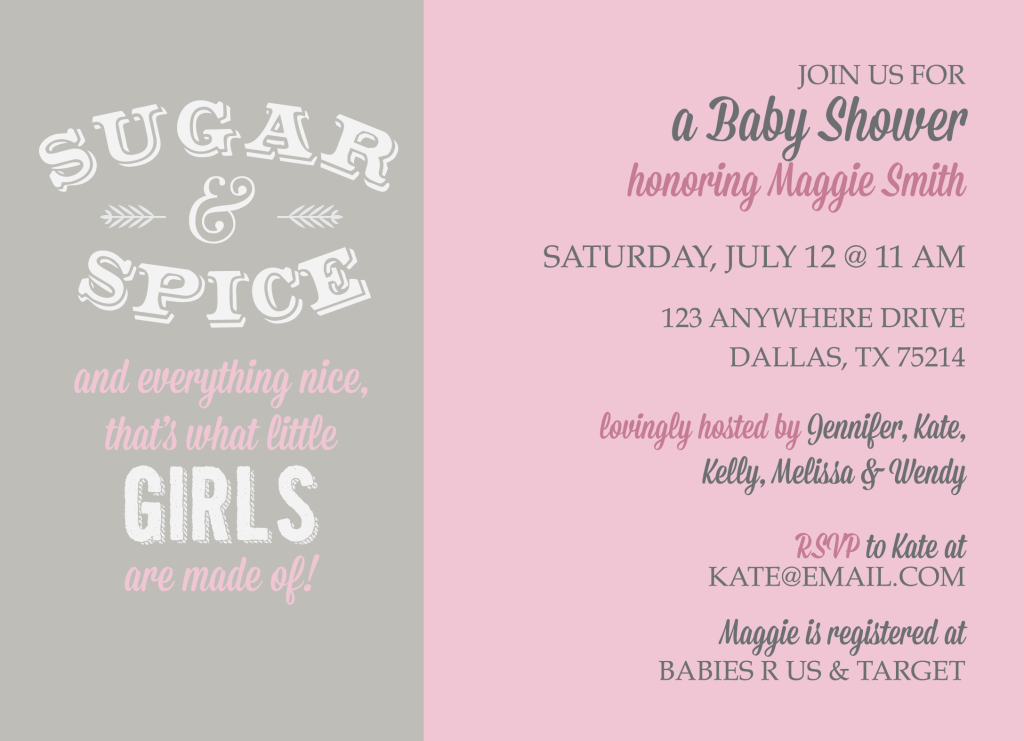 Sugar and Spice Baby Shower KateOGroup Custom Invitations