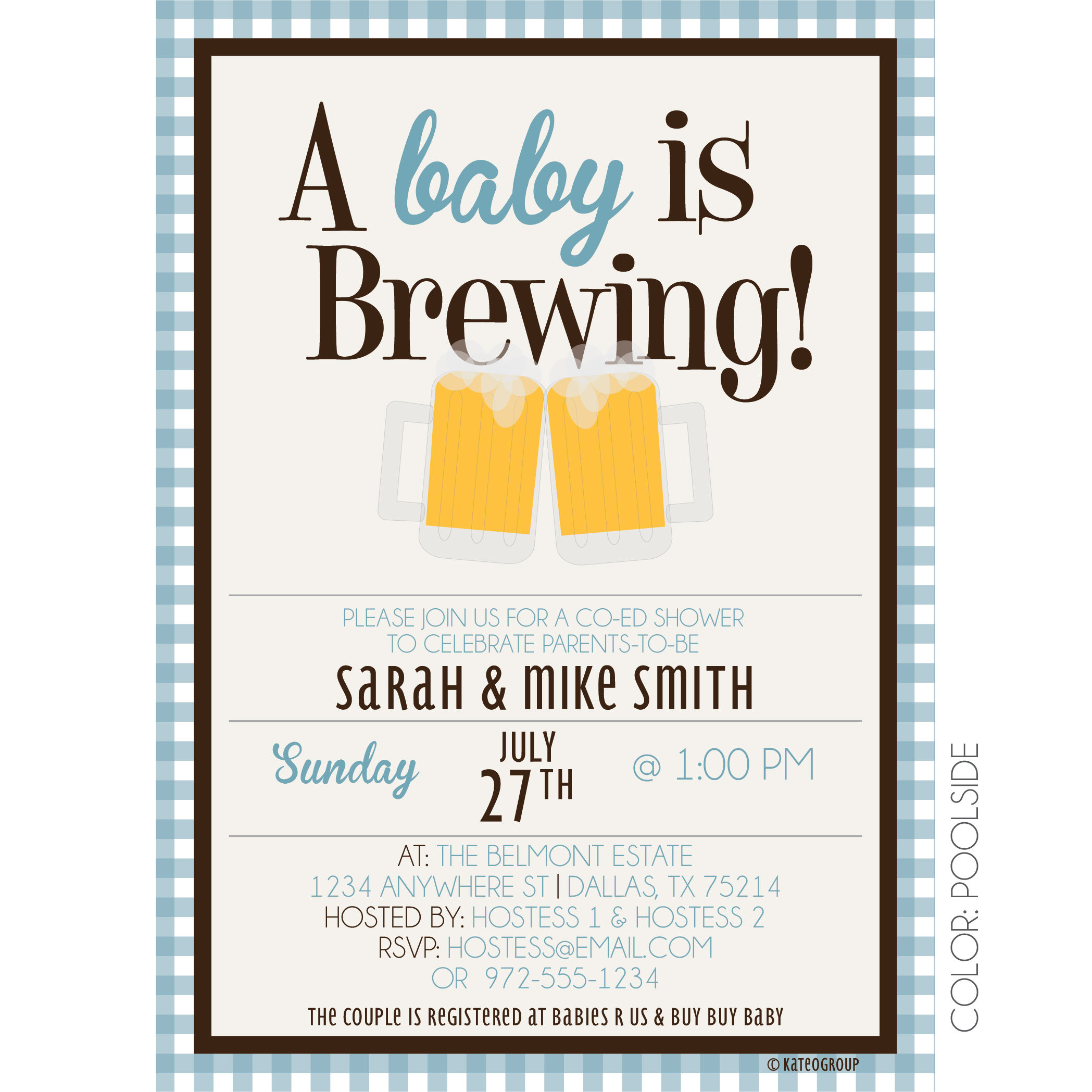 Shower Invitation Beer Mugs Baby