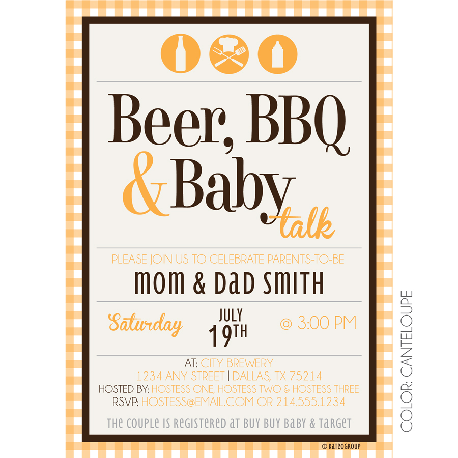 Beer BBQ Baby Talk | KateOGroup | Baby Shower Invitation