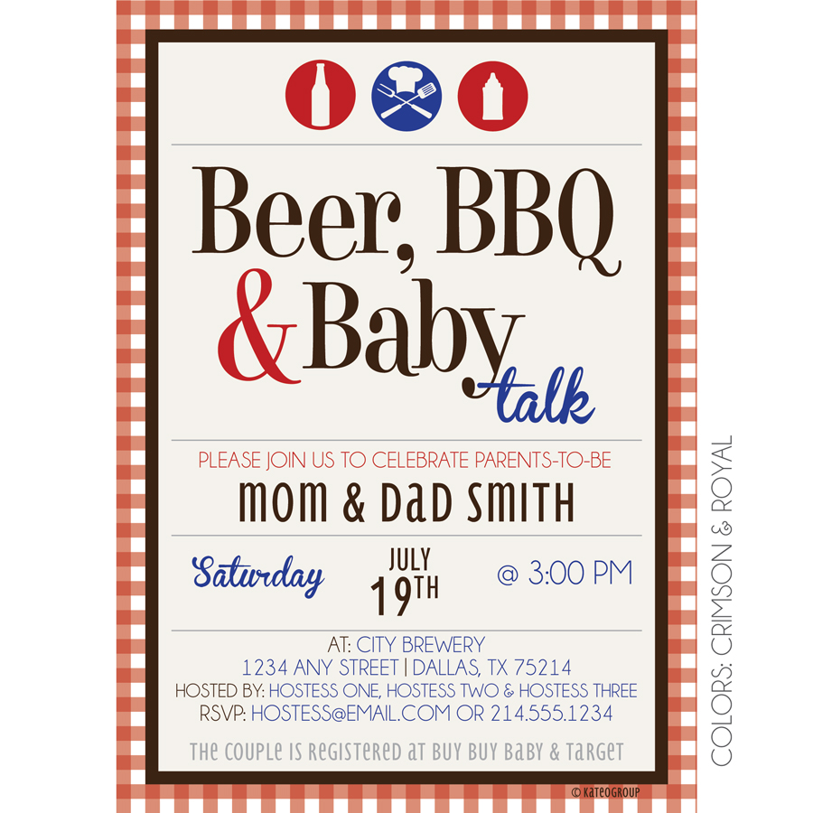 beer bbq baby talk kateogroup baby shower invitation