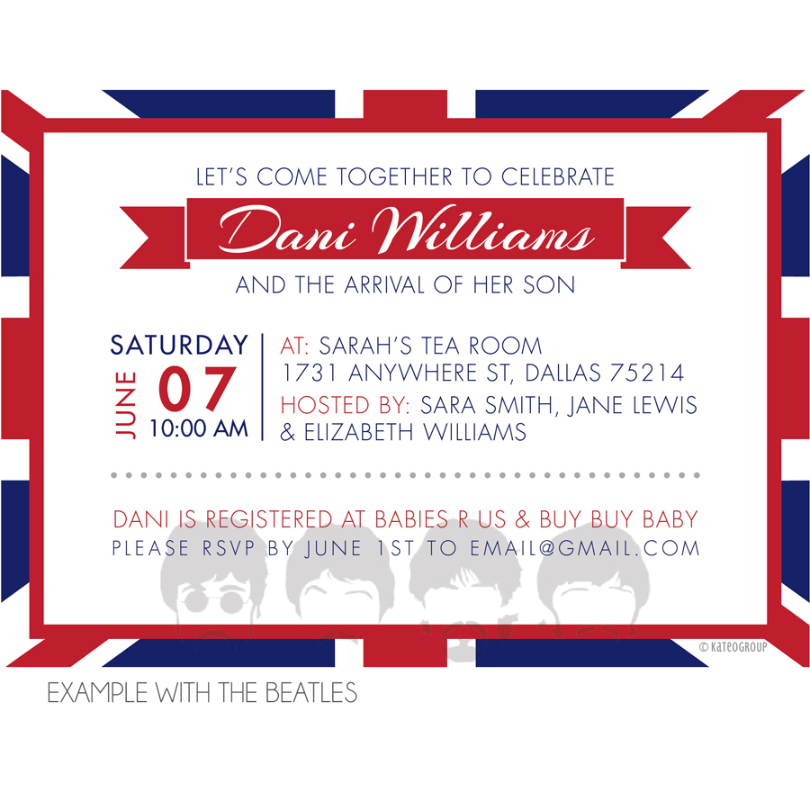 British Themed Baby Shower Invitation – Beatles Party Invitations