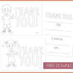 Free Download Color in Thank You Notes for Kids