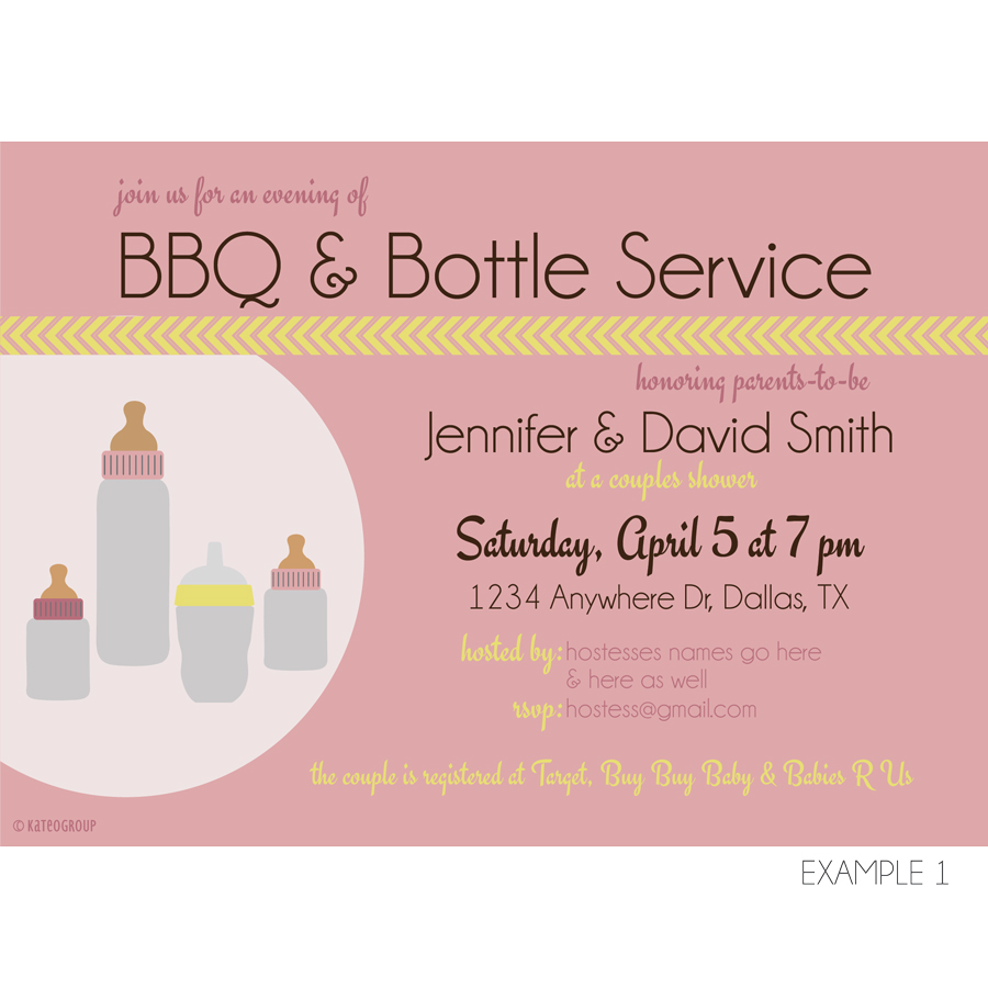 BBQ and Bottle Service Baby Shower Invitation | KateOGroup