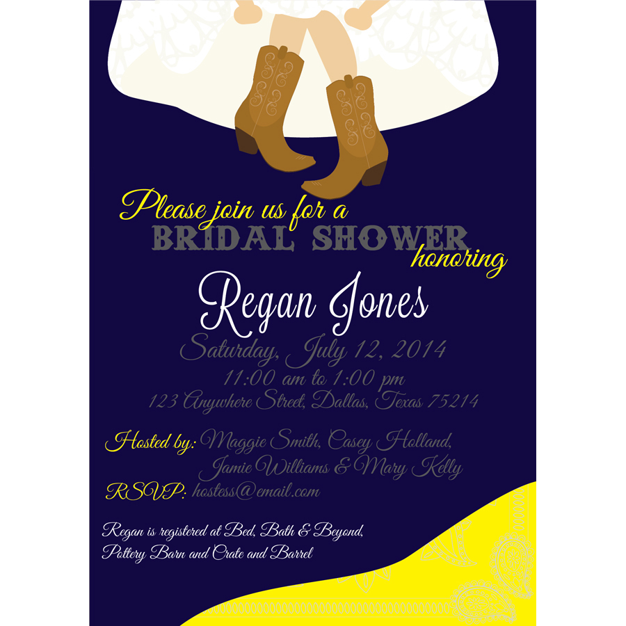 western wedding shower invitation