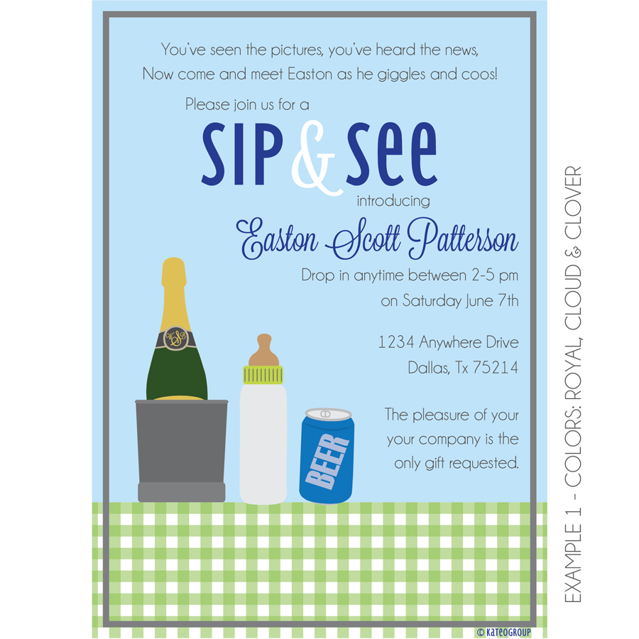 Boozy Sip And See Invitation