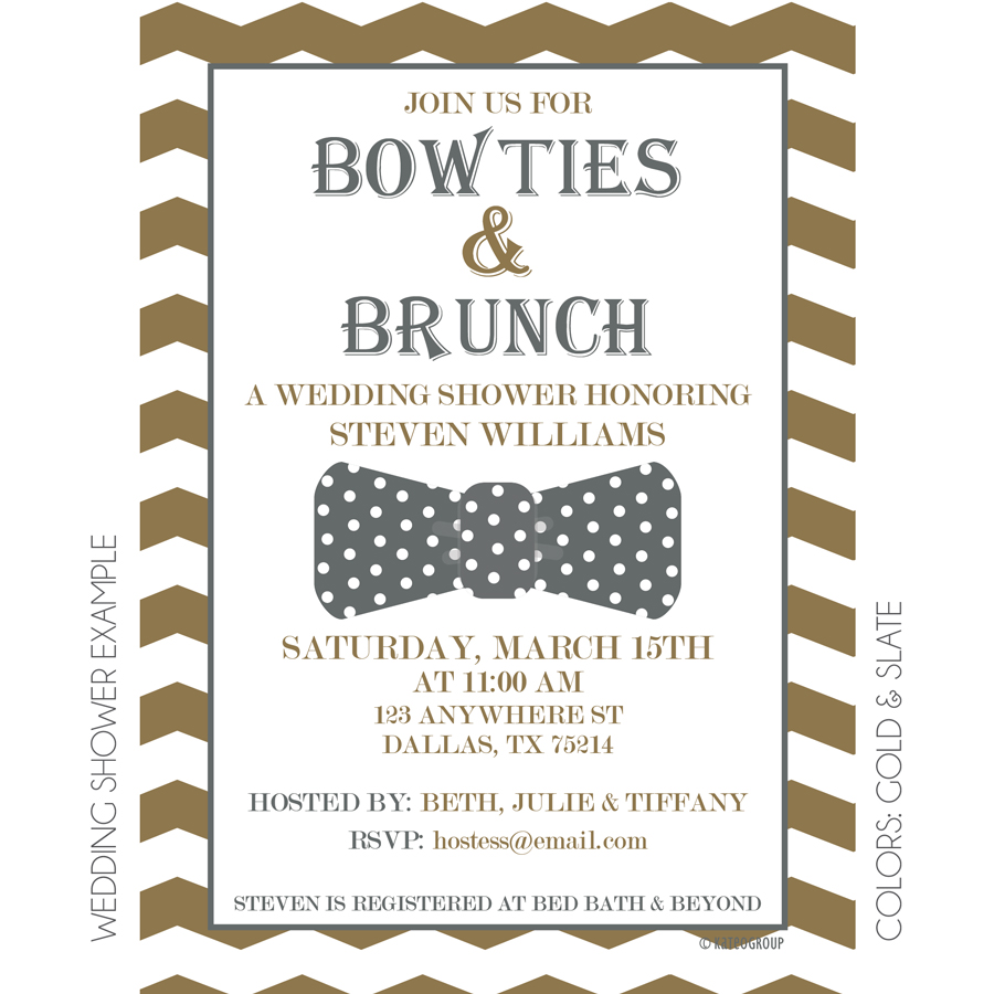 Bowties and brunch invitation kateogroup for Wedding brunch invitations