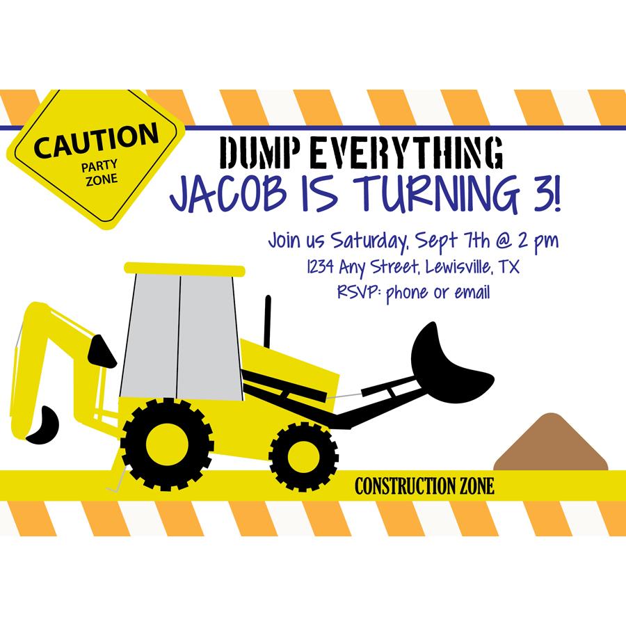 Construction birthday party invites