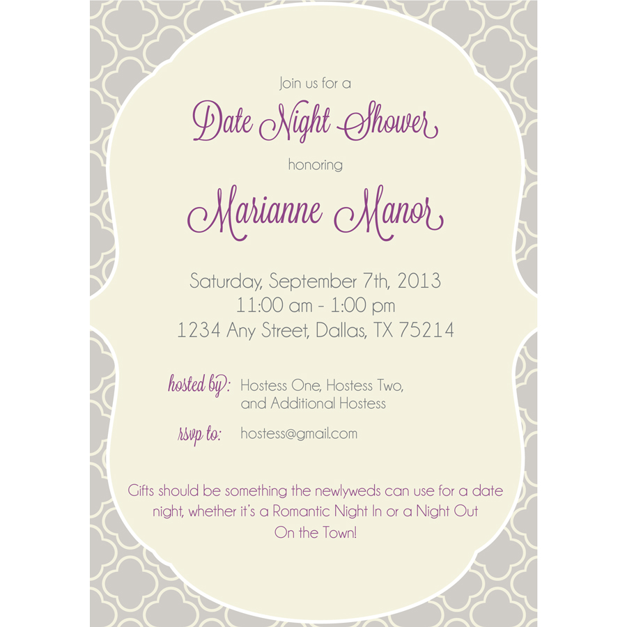 Date Night Wedding Shower Invitation  KateOGroup