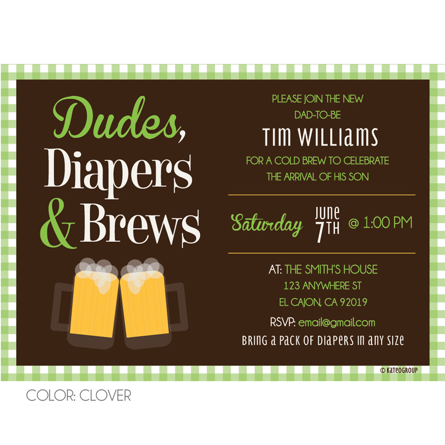Dudes Diapers Brews Invitation Baby Shower KateOGroup