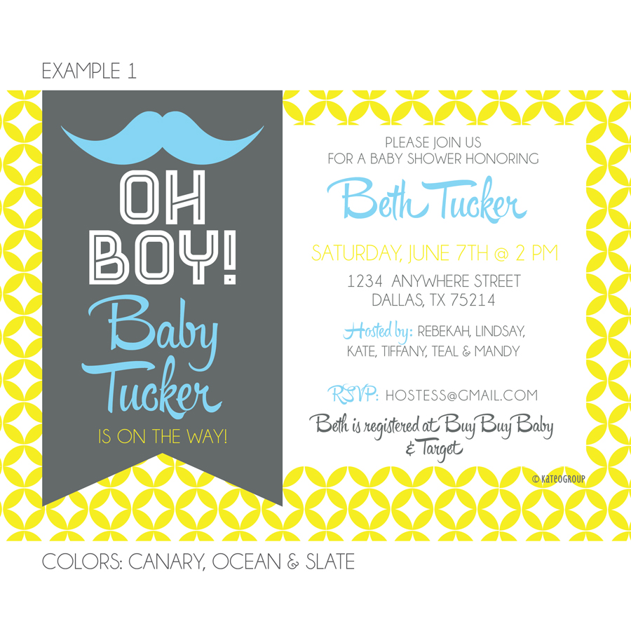 Hipster Mustache Baby Shower Invitation | KateIGroup