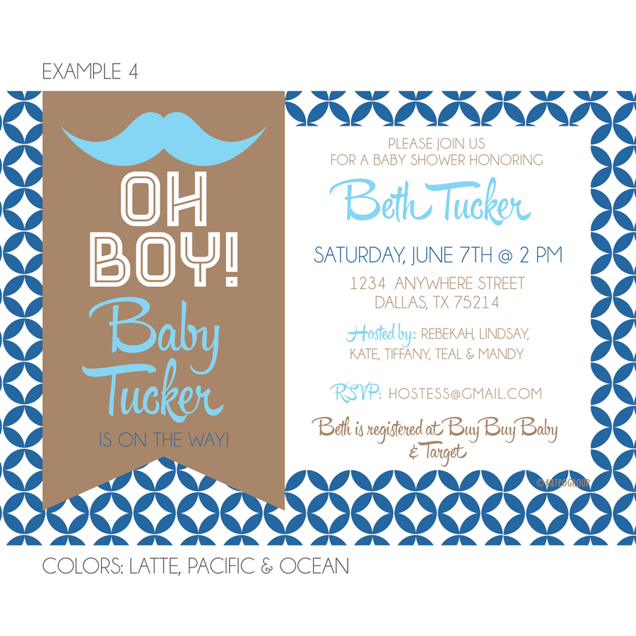Hipster Mustache Baby Shower Invitation