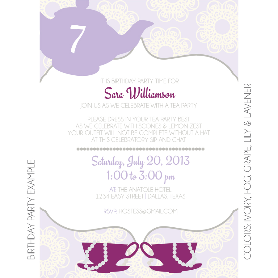 Tea Party Invitation Custom Invitation – Tea Birthday Party Invitations