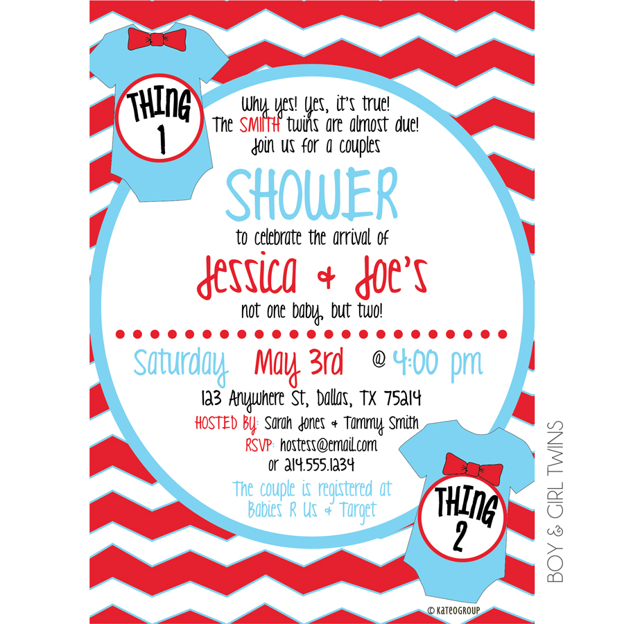 thing 1 and thing 2 baby shower invitations