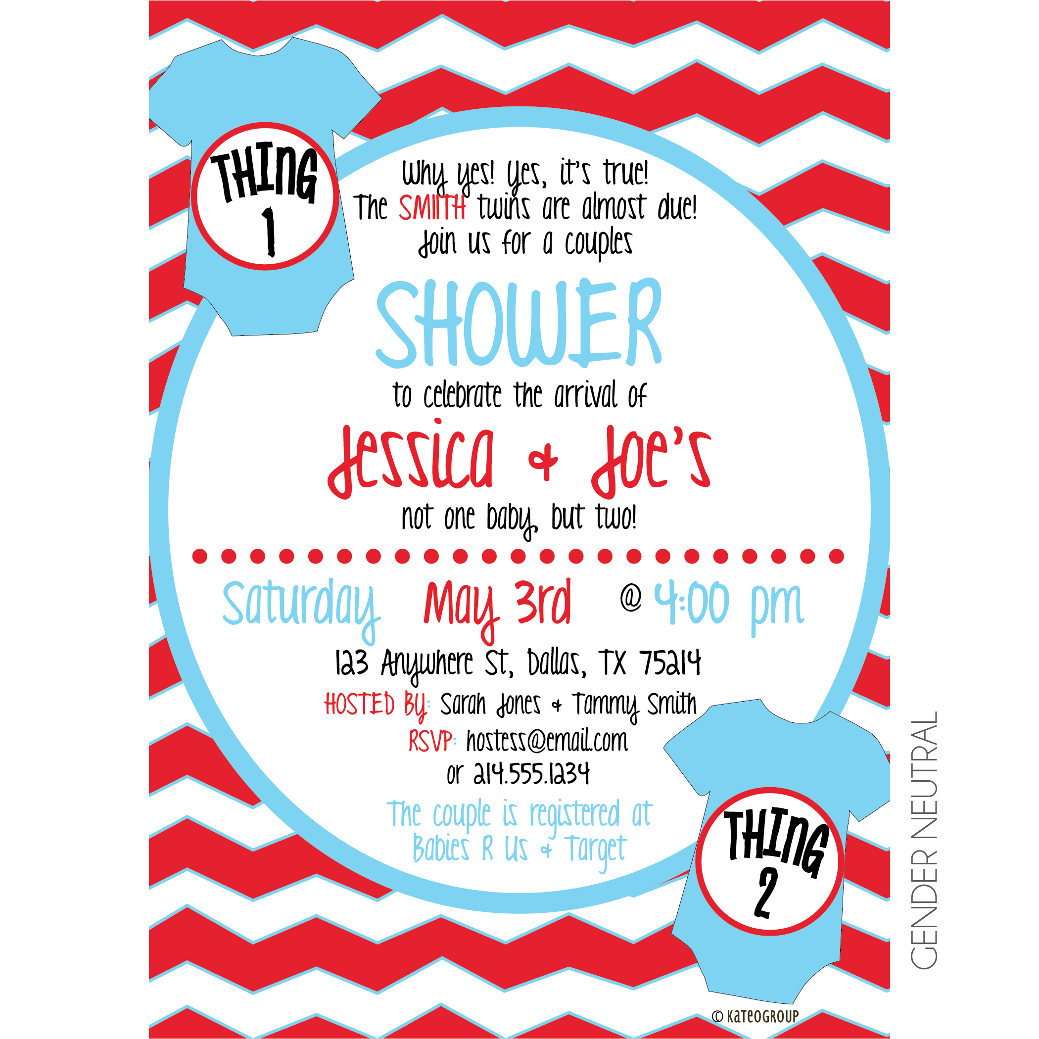Thing one thing two baby shower invitation kateogroup thing one thing two shower invitation filmwisefo