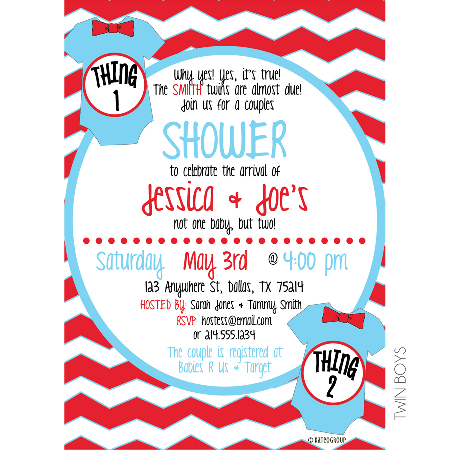Thing One Thing Two Baby Shower Invitation | KateOGroup