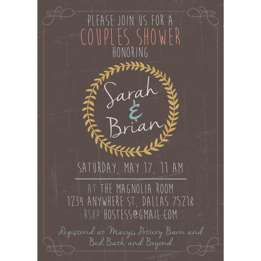 Whimsical Couples Wedding Shower Invitation