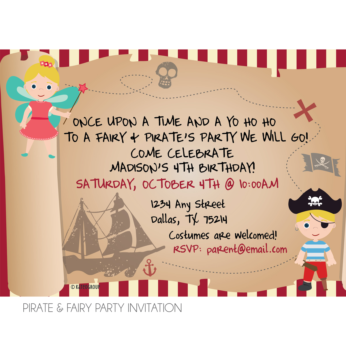 Pirate and Fairy Birthday Party Invitation – Pirate Party Invite