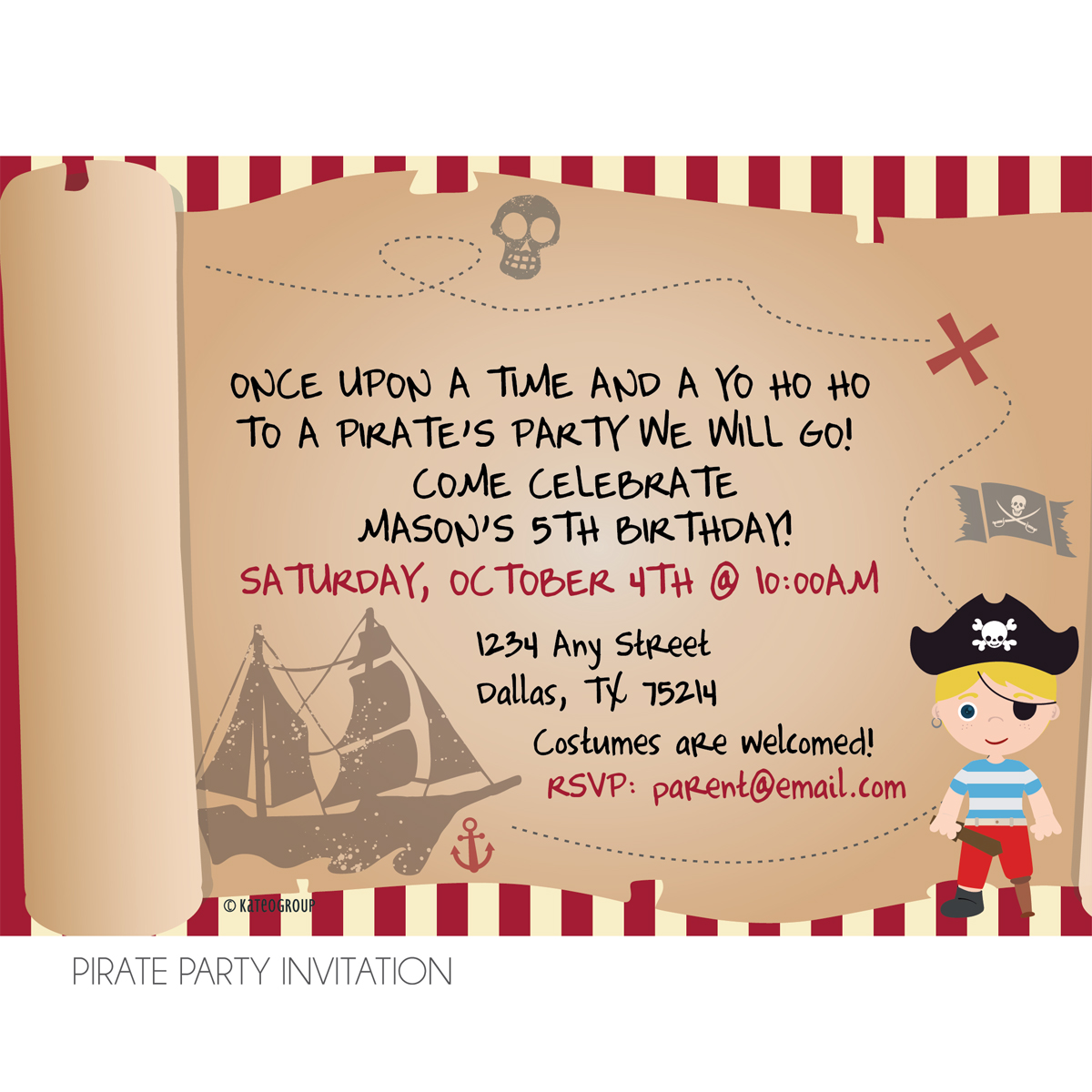 Pirate and Fairy Birthday Party Invitation | KateOGroup