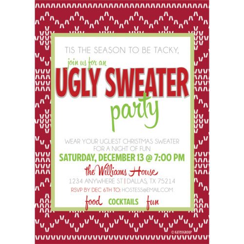 Ugly christmas sweater party invite