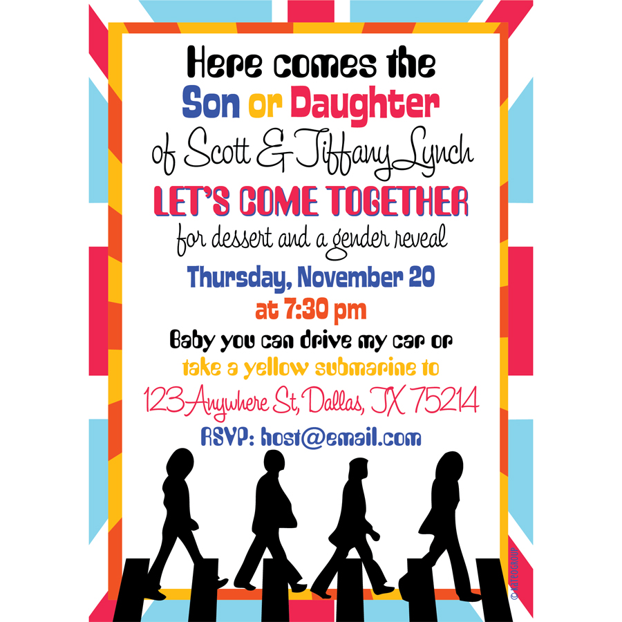 Beatles Theme Gender Reveal Invitations Kateogroup