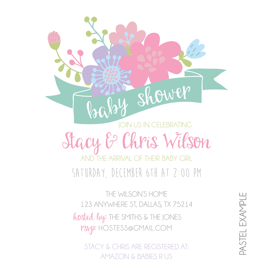 Floral Baby Shower Invitation Invitations KateOGroup