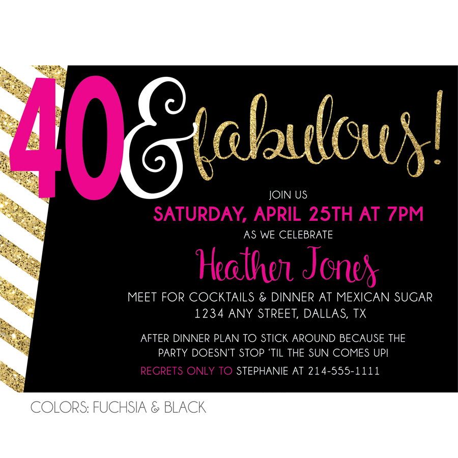 40 and fabulous birthday party invitation kateogroup sparkly 40 fabulous birthday invitation sample image filmwisefo