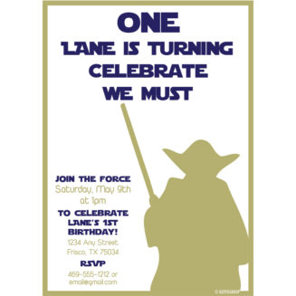 Yoda First Birthday Invitation