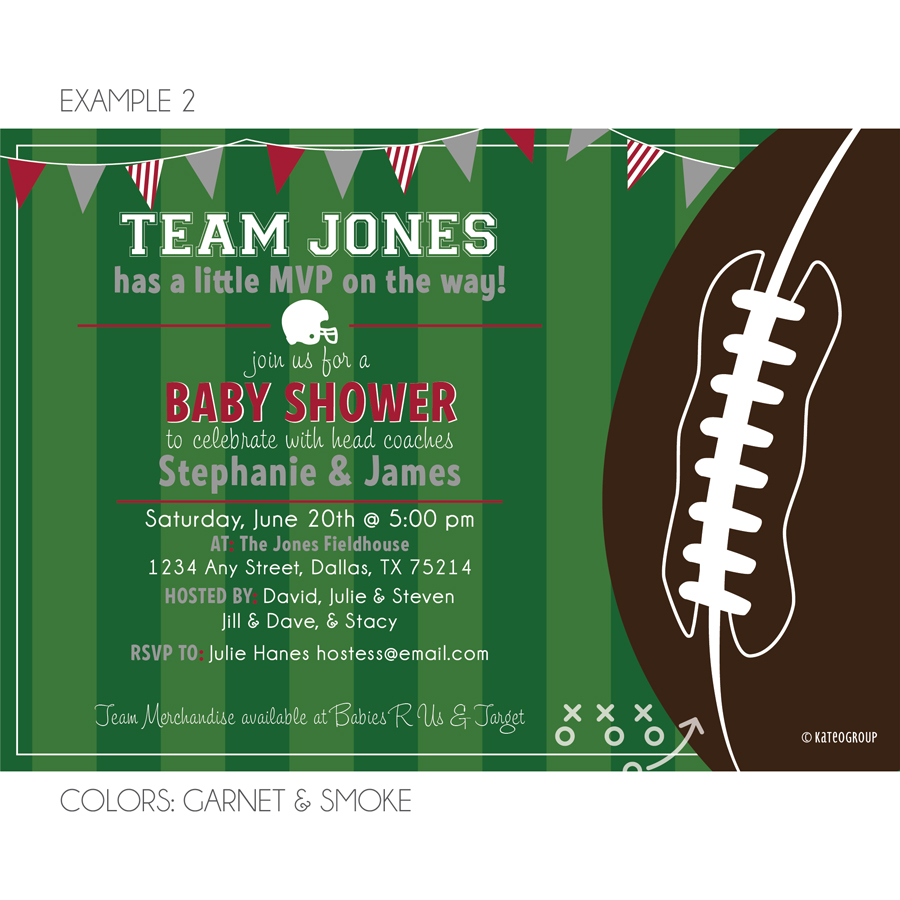 Football Field Baby Shower Invitation Kateogroup