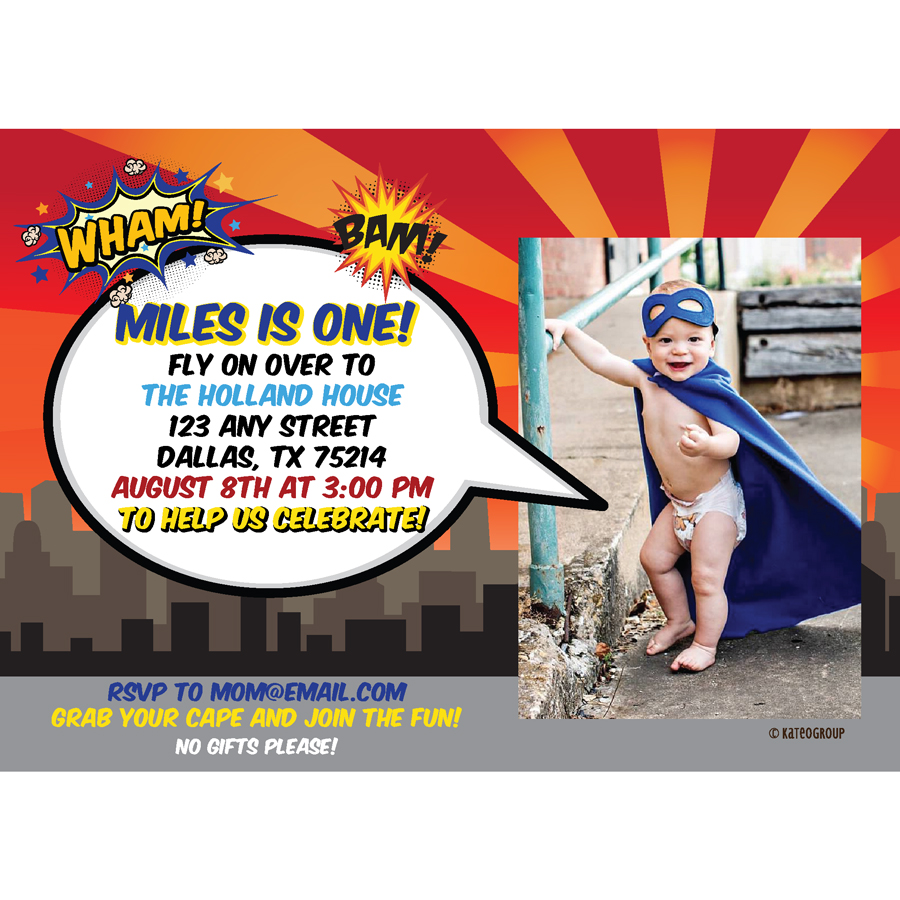 Superhero First Birthday Invitation KateOGroup