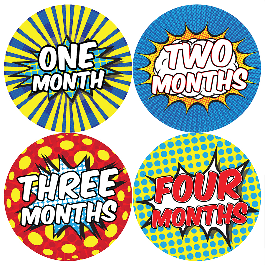 Superhero Monthly Progress Stickers Months 1-4
