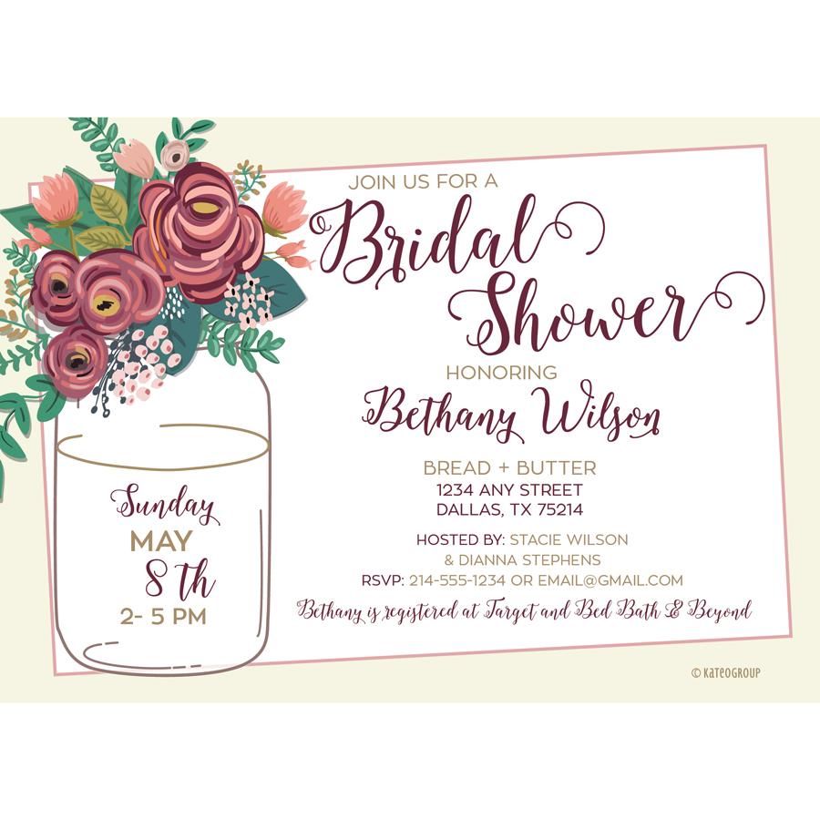 Rustic Floral Bridal Shower Invitation | KateOGroup