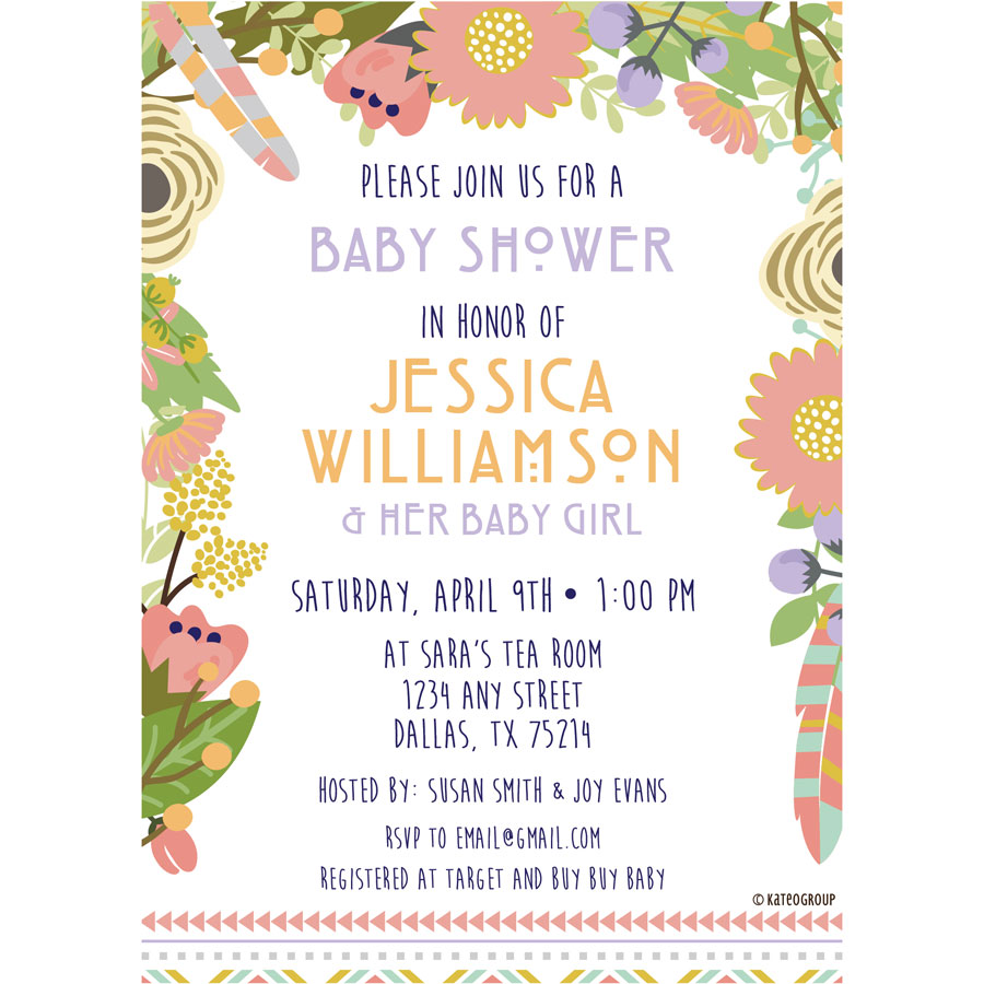 Floral Tribal Baby Shower Invitation   KateOGroup