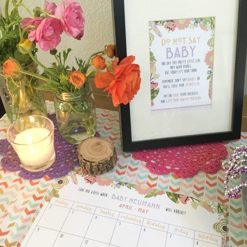 Tribal-Floral-Baby-Shower-Sign-In-Calendar