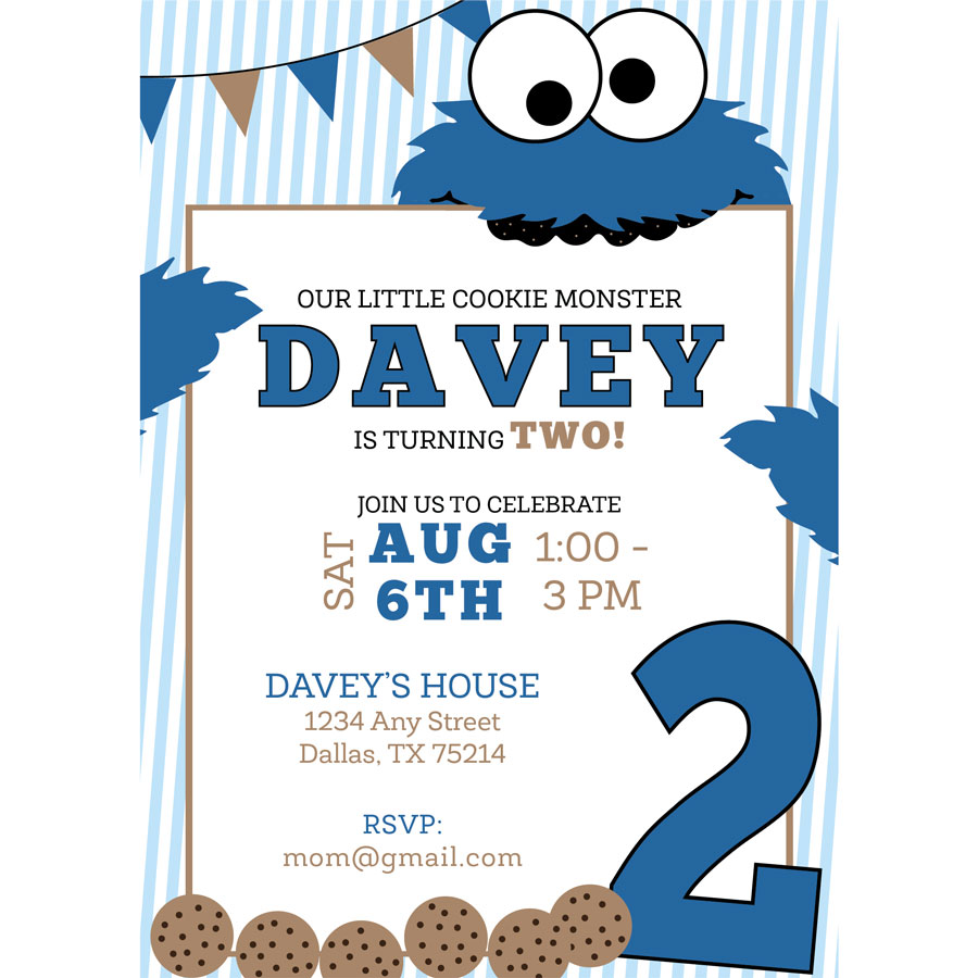 Cookie Monster Birthday Invitation | KateOGroup
