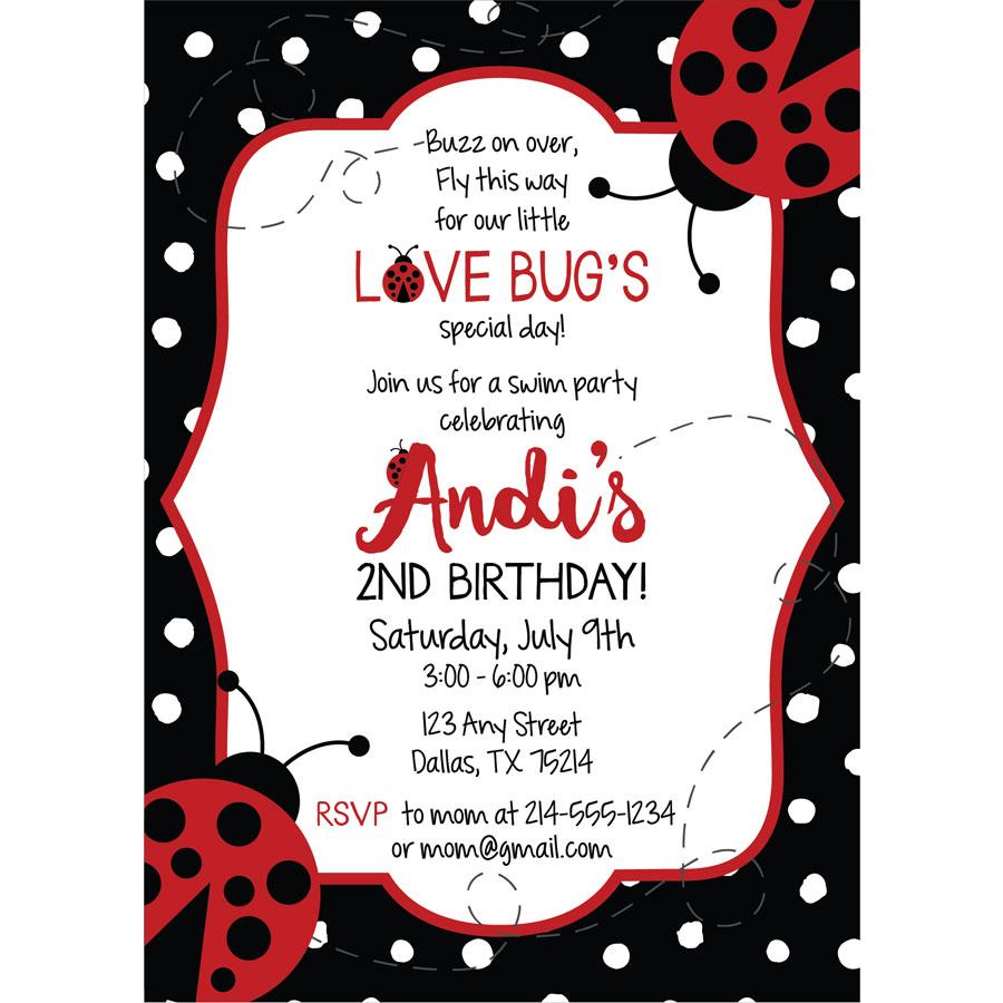 Lady Bug Birthday Invitation | KateOGroup