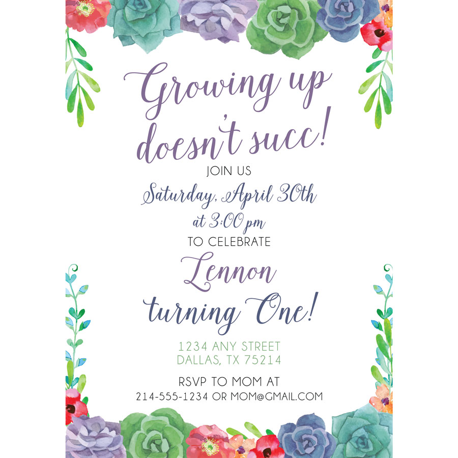 Succulent Birthday Invitation | KateOGroup