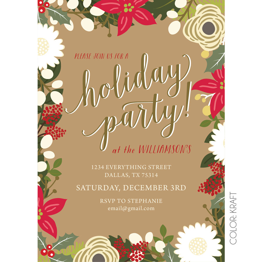 Floral Holiday Party Invitation | KateOGroup