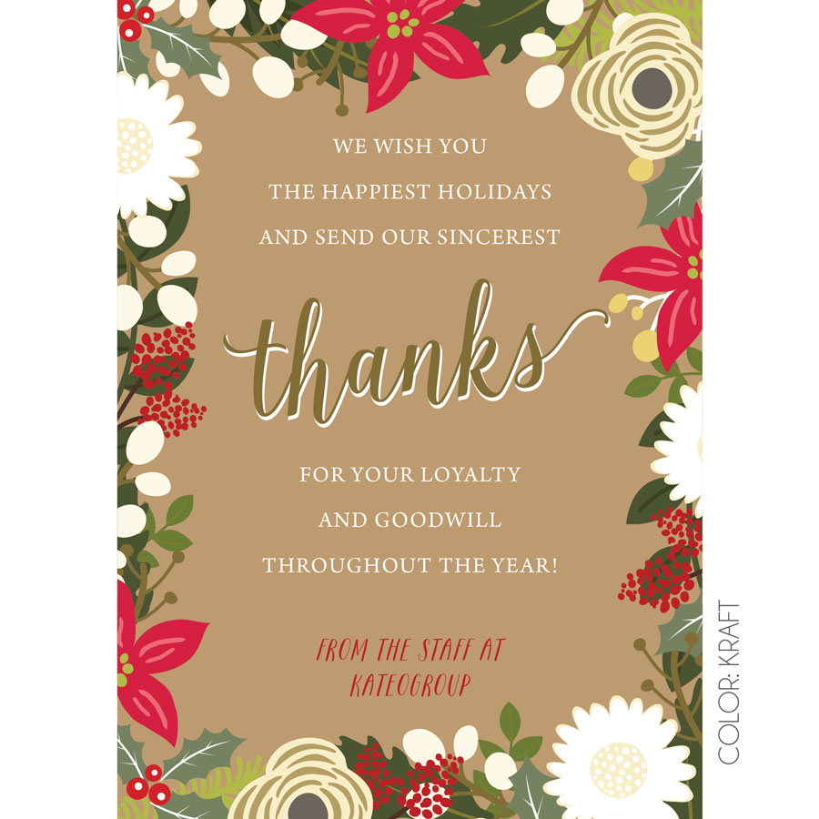 Floral Thanks Holiday Cards Kateogroup