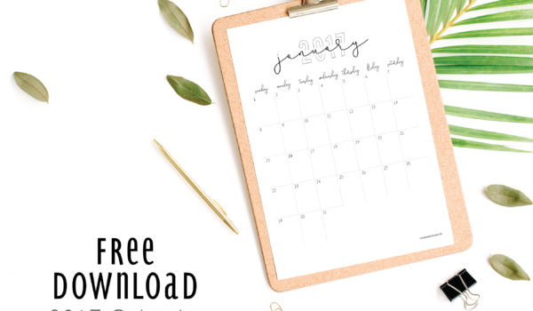2017 Calendar: Free Download